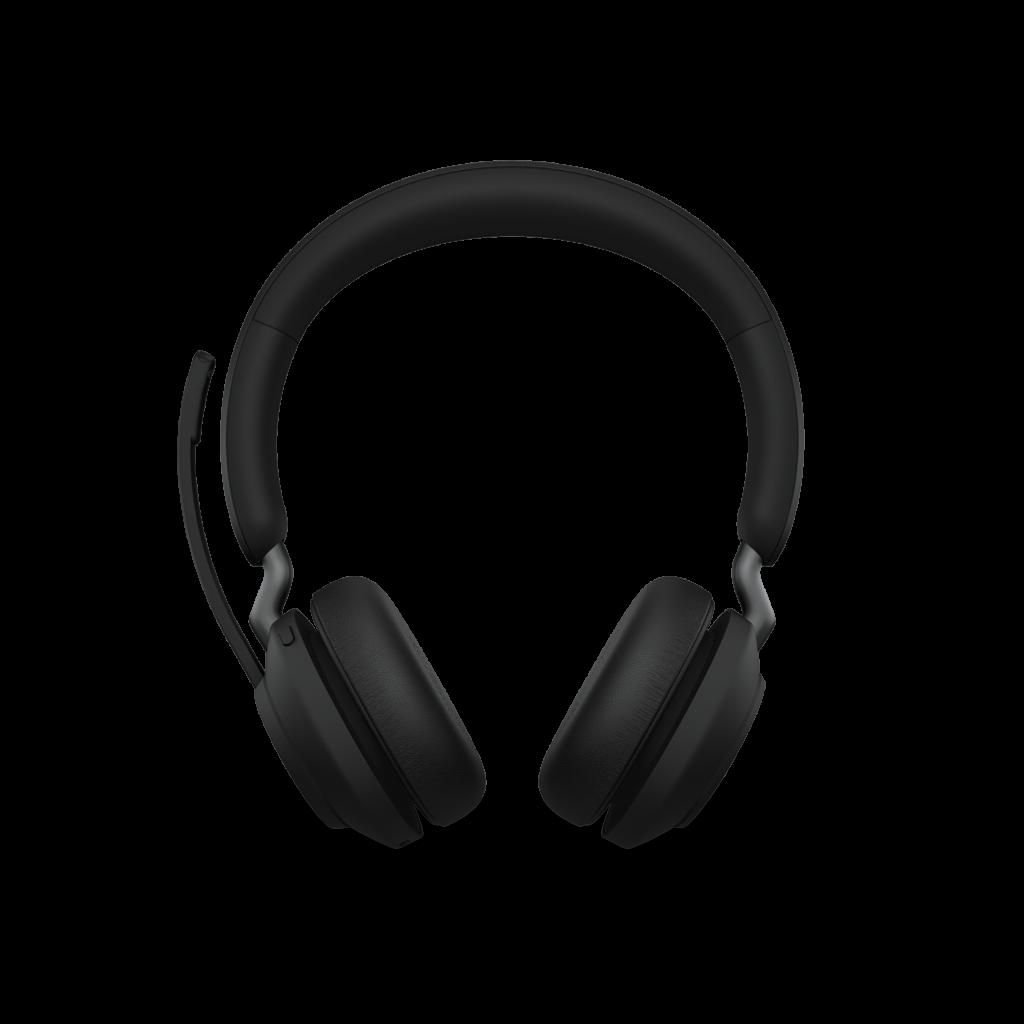 Jabra Evolve2 65 Black Stereo Front On Boom Up DB
